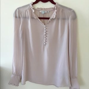 Boden long sleeve pink silk slip on blouse.8
